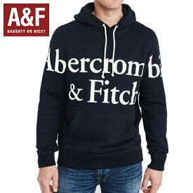 Abercrombie & Fitchアバクロンビーアンドフィッチ正規品メンズプルオーバーパーカーフードネイビー紺デカロゴプリント122-231-0119-200並行輸入インポートブランド海外買い付け正規[0919]