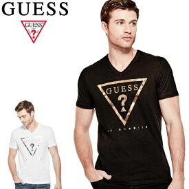 GUESSゲス正規品 メンズ半袖TEEシャツTaft Heathered Logo VNECK SOLID Tee白黒グレー ゴールドプリント 三角プリントX82I36RI7R0/X84I21R4ER1アメリカ買い付けインポートブランド海外買い付け正規[0419]