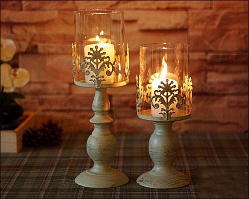 キャンドルスタンド キャンドルホルダー ガラス アイアン アンティーク風 シャビーおしゃれ かわいいキャンドルライト キャンドルスタンド(Sサイズ)