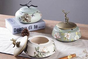 陶器 置物 オブジェ アクセサリーケース 小物入れ 鹿 カンガルー 小枝付き 薔薇柄 灰皿