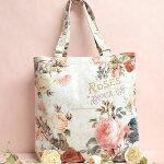 トートバッグ薔薇ローズ花柄エレガントおしゃれかわいいA4手提げお買い物コンパクトかばん可愛いシンプルデザイン