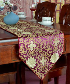 アジアン テーブルランナー 花模様(キイイロ、ブラウン、グリーン、レッド、ブラック) おしゃれ