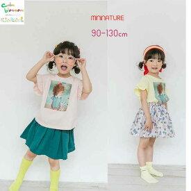 フリル フリルそで カットソー Tシャツ tシャツ 90 100 110 120 130 女の子 韓国 韓国子供服 子供服 きっず キッズ ピンク イエロー 黄色 かわいい ベビー べびー服 韓国べびー服