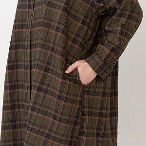 ノーカラーシャツワンピースレディースワンピースポケット日本製フリーサイズ2020秋CALMLANKAカームランカ送料無料