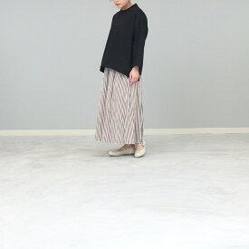 ストライプロングスカート フレア ギャザースカート ウエストゴム フリーサイズ BLUELAKEMARKET(ブルーレイクマーケット) 日本製 送料無料