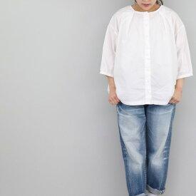 前後着用タックブラウス クルーネックシャツ sabbatum(サバタム)レディース 春夏 綿 日本製 送料無料