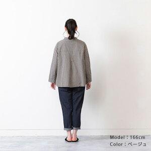 カラーギンガムバンドカラーAラインシャツ