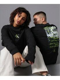【SALE/40%OFF】CALVIN KLEIN JEANS/(M)CKロゴ バックプリント ロングスリーブTシャツ Calvin Klein Jeans カルバン・クライン カットソー Tシャツ ブラック ホワイト【RBA_E】【送料無料】[Rakuten Fashion]