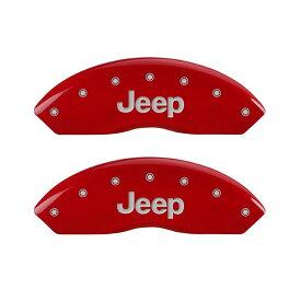 【車種専用設計】ラングラー ブレーキキャリパーカバー ジープロゴ レッド 4PC '14y〜'17y【アメ車パーツ】