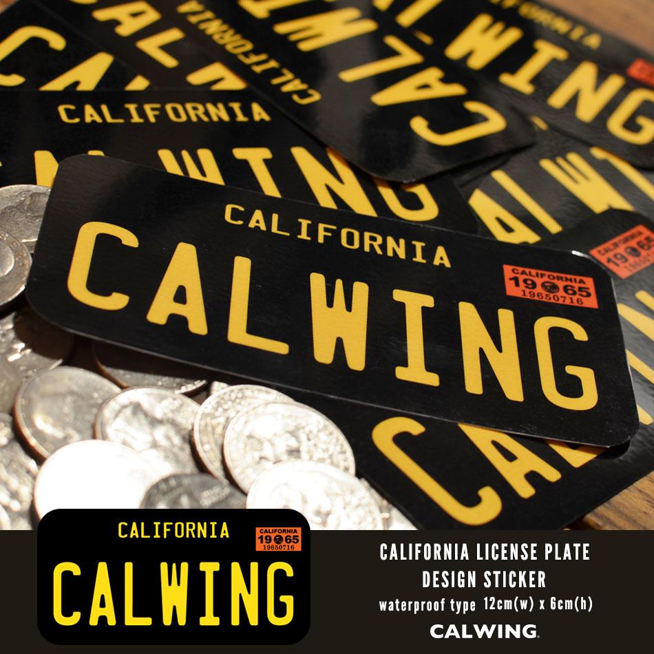 【キャルウイングオリジナル】 防水 1960's ナンバープレートタイプステッカー カリフォルニア州 CARIFORNIA ブラックプレート 黄色文字 ヴィンテージモデル '63y〜'68y CALWING文字 アメリカ西海岸 ロサンゼルス カリフォルニア インテリア雑貨 おしゃれ雑貨 シール