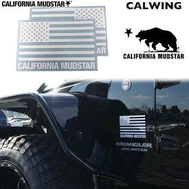 【カリフォルニアマッドスター/CALIFORNIA MUDSTAR★】USフラッグ ステッカー 175x110- 2枚入り デカール カーステッカー ホワイト FROM USA