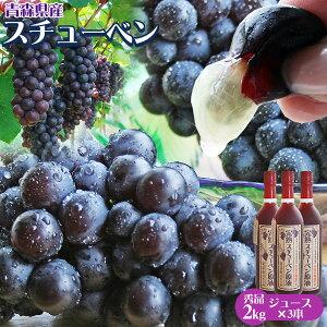 【青森県産ぶどう スチューベン2kg&完熟スチューベン原液3本】 贈答用 送料無料 ギフトに一押し♪ジュースになったらポリフェノールはワイン以上っ!ストレートスチューベンジュー