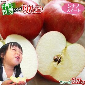 葉っぱの影は甘さのサイン 【葉とらずりんご シナノスイート2.7kg ファーム】家庭用 (7〜12玉) 本場青森 ゴールド農園 送料無料 りんご リンゴ [※産地直送のため同梱不可]