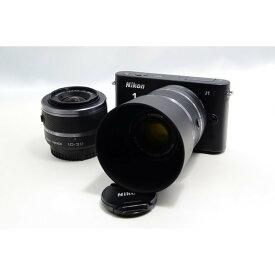 ニコン Nikon J1 ブラック ダブルズームキット 美品 新品SDカード、ストラップ付き
