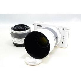 ニコン Nikon J1 ホワイト ダブルズームキット 美品 新品SDカード、ストラップ付き