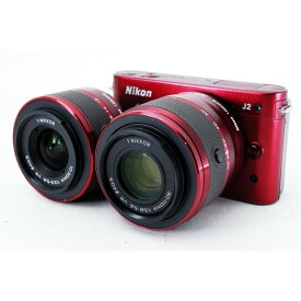 ニコン Nikon J2 レッド ダブルズームキット 美品 新品SDカード、ストラップ付き