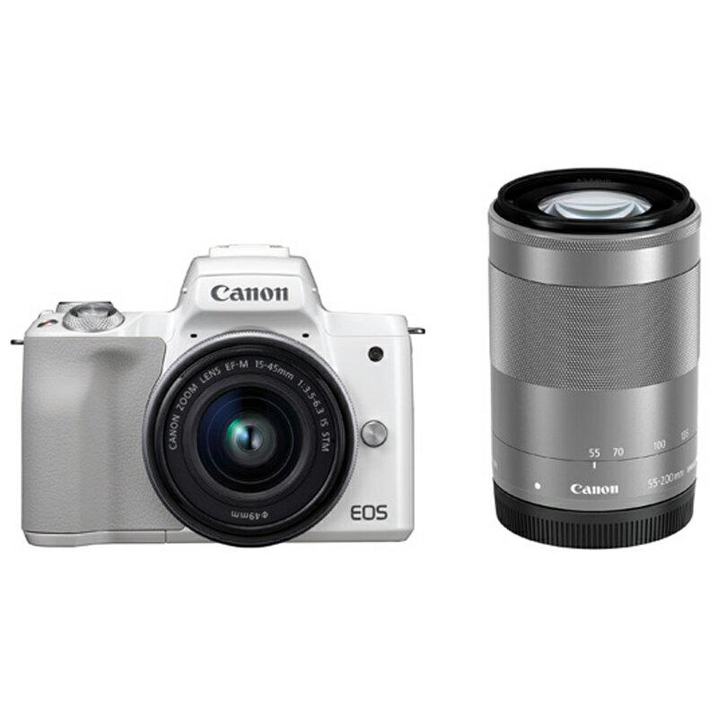 Canon キヤノン ミラーレス一眼カメラ EOS Kiss M ダブルズームキット ホワイト