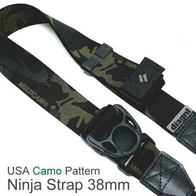 【NEW】 新柄ブラックカモ追加!USA製カモテープ / ニンジャカメラストラップdiagnl Ninja Camera Strap 38mm幅【5,000円(税抜)以上のご購入で送料無料】カメラストラップ 一眼レフ ミラーレス ショルダーストラップ 斜めがけ カモフラ