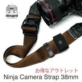 カメラストラップ 一眼レフ ミラーレス ショルダーストラップ 斜めがけ 長さ調節 シンプル ナイロン アジャスター 日本製【アウトレットアイテム】伸縮自在のニンジャカメラストラップ diagnl(ダイアグナル) Ninja Camera Strap 38mm幅