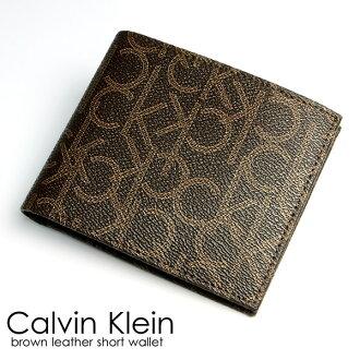 Calvin Klein Calvin Klein mens wallet 2 fold wallet leather leather logo brand Brown wallet purse Men's wallet