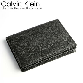 Calvin Klein カルバンクライン カードケース メンズ 本革 レザー ロゴ ブランド ブラック 型押し Men's