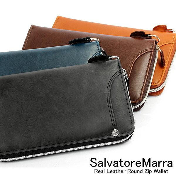 【サルバトーレマーラ】【Salvatore Marra】 長財布 ラウンドファスナー メンズ 本革カラーレザー ウォレット ブランド MEN'S さいふ サイフ