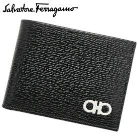 Salvatore Ferragamo サルヴァトーレフェラガモ フェラガモ メンズ 二つ折り 財布 2つ折り財布 ガンチーニ GANCINI ブラック NERO 黒 シンプル ブランド 66A064