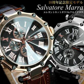 Salvatore Mara 10th anniversary limited edition model watch men's chronograph Chrono Watch mens watch brand ranking watch うでどけい MEN's