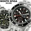 モンテスピガ MONTE SPIGA 시계 크로 노 그래프 시계 남성용 크로 노 워치 MEN 'S うでどけい