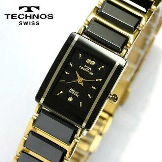 TECHNOS技术陶瓷器蓝宝石玻璃黑色女士手表TAL742GB