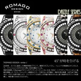 最大1000円OFFクーポン 【ROMAGO/ロマゴ デザイン】 腕時計 レディース ミラーウォッチ スワロフスキー ダズルシリーズ 本革レザー スイス RM006-1477 うでどけい