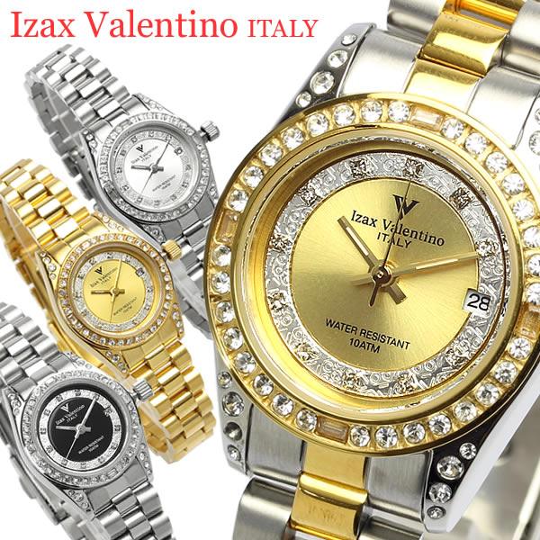 【Izac Valentino】【アイザックバレンチノ】 腕時計 レディース スクエア ラインストーン 10気圧防水 カレンダー IVL-1000 Lady's ブランド ウォッチ