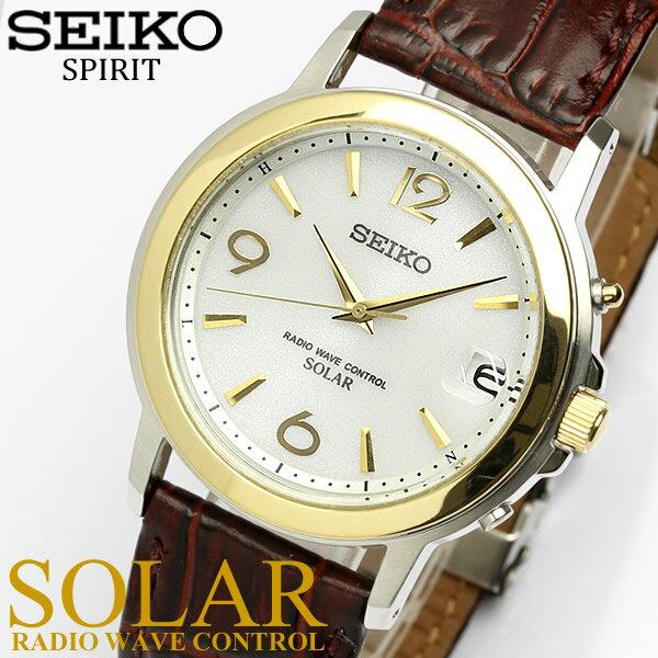 【送料無料】【SEIKO SPIRIT】 セイコー スピリット ソーラー電波腕時計 メンズ 本革レザー 10気圧防水 SBTM192 うでどけい ウォッチ Men's 【国内正規品】