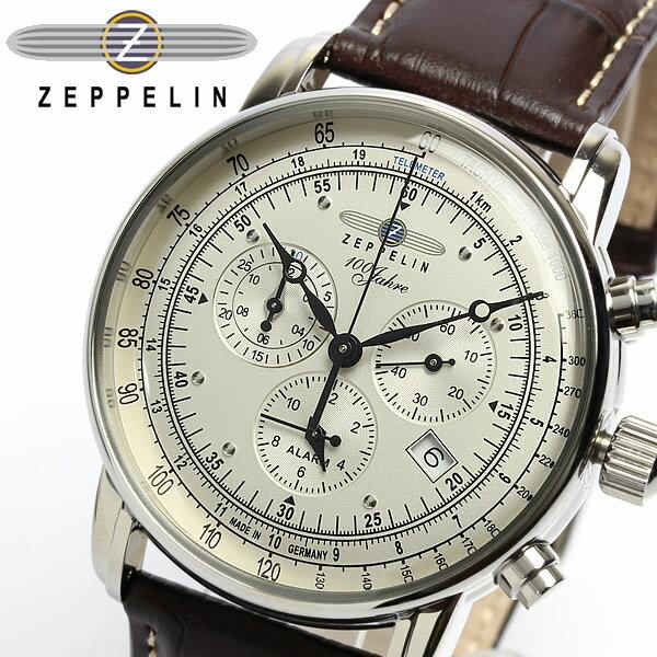 【送料無料】【ツェッペリン】【Zeppelin】 100周年 限定モデル クロノグラフ メンズ腕時計 7680-1 MEN'S 男性用 うでどけい ウォッチ 本革レザー