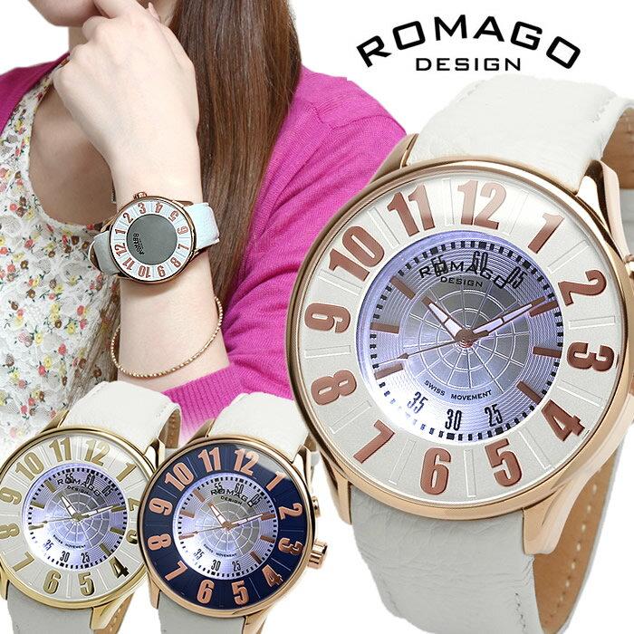 【限定モデル】【ROMAGO】ロマゴ デザイン 腕時計 レディース メンズ ミラーウォッチ 雑誌掲載 本革レザー ホワイト RM007-0053ST