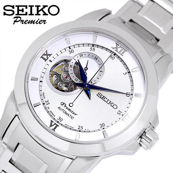 【SEIKO Premier】 セイコー プルミエ 腕時計 メンズ 自動巻き 日本製 10気圧防水 オープンハート スケルトン ステンレス 24時間計 シルバー SSA319J1