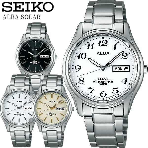 SEIKO ALBA セイコー アルバ ソーラー腕時計 ユニセックス 10気圧防水 ステンレス ハードレックス カレンダー 日付 曜日 シンプル ブランド ALBA04
