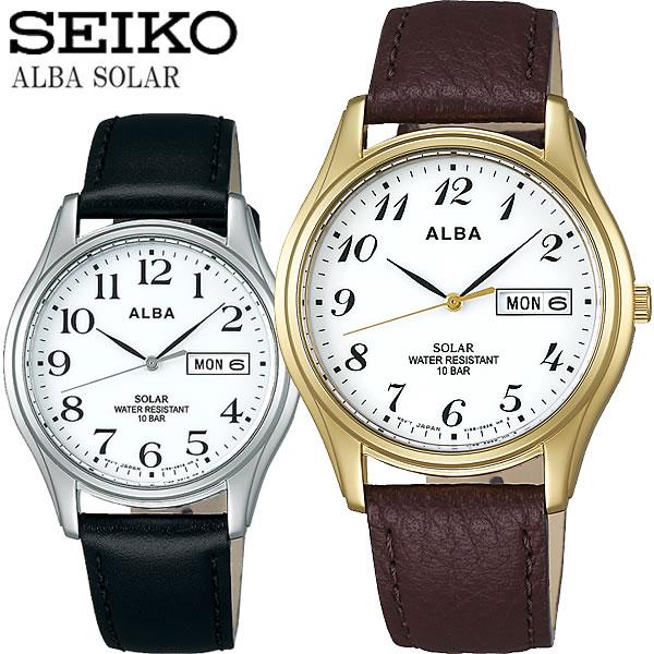 SEIKO ALBA セイコー アルバ ソーラー腕時計 ユニセックス 10気圧防水 牛皮革(カーフ) ハードレックス カレンダー 日付 曜日 シンプル ブランド ALBA06