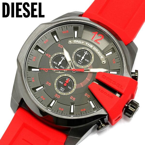 【送料無料】【DIESEL】 ディーゼル メガチーフ ガンメタル クロノグラフ クオーツ ラバーベルト メンズ ウォッチ 腕時計 DZ4427