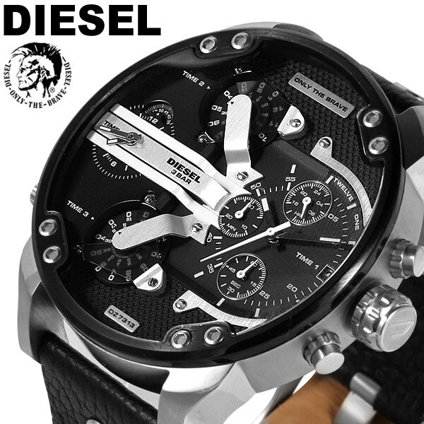 【送料無料】DIESEL ディーゼル 腕時計 ウォッチ メンズ 男性用 クオーツ 10気圧防水 レザー ビッグフェイス クロノグラフ ディーゼル 時計 DZ7313
