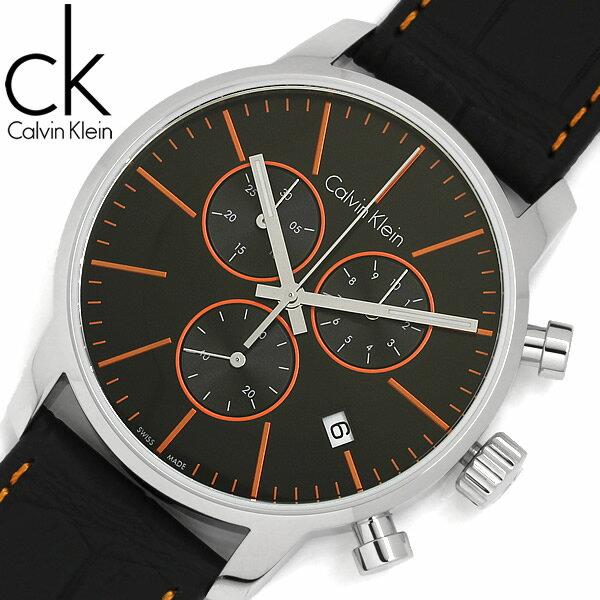 【送料無料】【Calvin Klein】【カルバンクライン】 CKシティ 腕時計 メンズ 43mm クオーツ クロノグラフ レザーベルト k2g271c1
