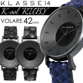 【アフターセール】【30%OFF】KLASSE14 クラス14 K-ool RUBY 42mm クオーツ腕時計 5気圧防水 幾何学形状ベルト ブラックケース レザー×シリコン アナログ3針 クール KO17BK 父の日 ギフト