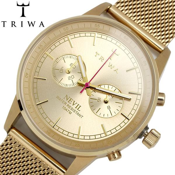 TRIWA/トリワ NEVIL ゴールド クオーツ 腕時計 クロノグラフ ユニセックス 10気圧防水 スウェーデン ステンレス ミネラルガラス ブランド 人気 NEST104