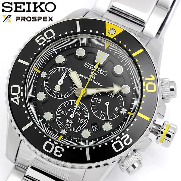 SEIKO セイコー ソーラー クロノグラフ ダイバーズウォッチ 腕時計 20気圧防水 クオーツ メンズ デイト表示 夜光インデックス ストップウォッチ SSC613P1