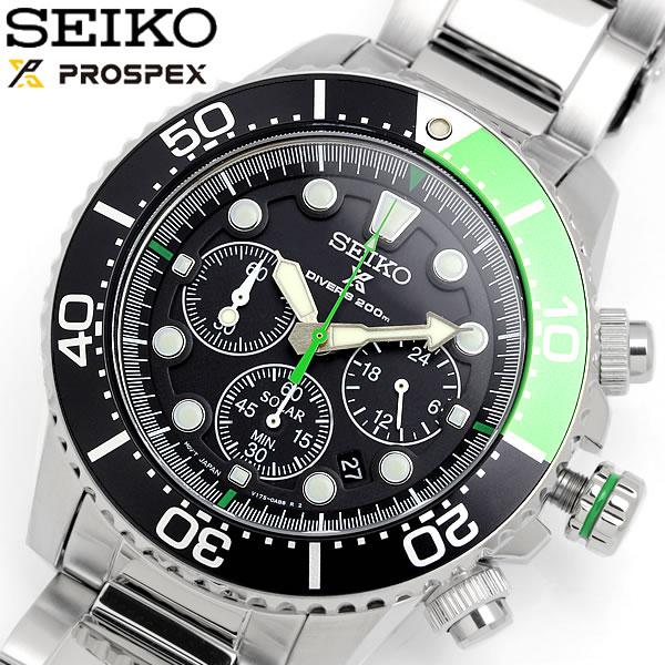 SEIKO セイコー ソーラー クロノグラフ ダイバーズウォッチ 腕時計 20気圧防水 クオーツ メンズ デイト表示 夜光インデックス ストップウォッチ SSC615P1