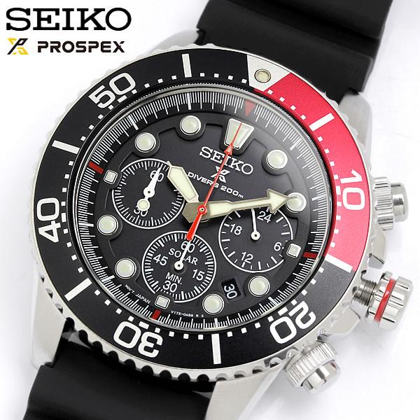 SEIKO セイコー ソーラー クロノグラフ ダイバーズウォッチ 腕時計 20気圧防水 クオーツ メンズ デイト表示 夜光インデックス ストップウォッチ SSC617P1