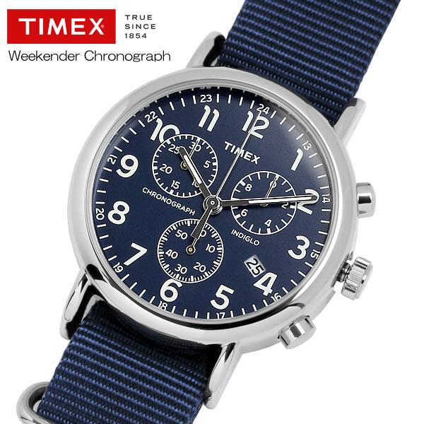 TIMEX タイメックス ウィークエンダー クロノグラフ ナイロンNATOストラップ 腕時計 クオーツ 3気圧防水 日付表示 インディグロナイトライト 真鍮 TW2P71300