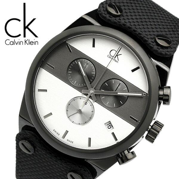 【送料無料】【Calvin Klein】【カルバンクライン】 イーガー 腕時計 メンズ 45mm クロノグラフ デイトカレンダー K4B374B6