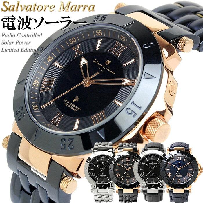 【Salvatore Marra】サルバトーレマーラ 電波 ソーラー 腕時計 メンズ 限定モデル SM18112 ステンレス 革ベルト ブランド ランキング ウォッチ 電波時計 ソーラー電波時計