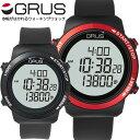 グルス GRUS 歩幅計測機能付 腕時計 メンズ レディース ユニセックス レッド ブラック 腕時計 ウォーキングウォッチ G…